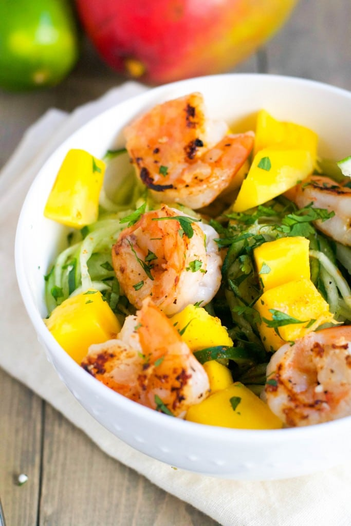 Mango and Shrimp Cucumber Noodles (GF, DF) - A Dash of Megnut