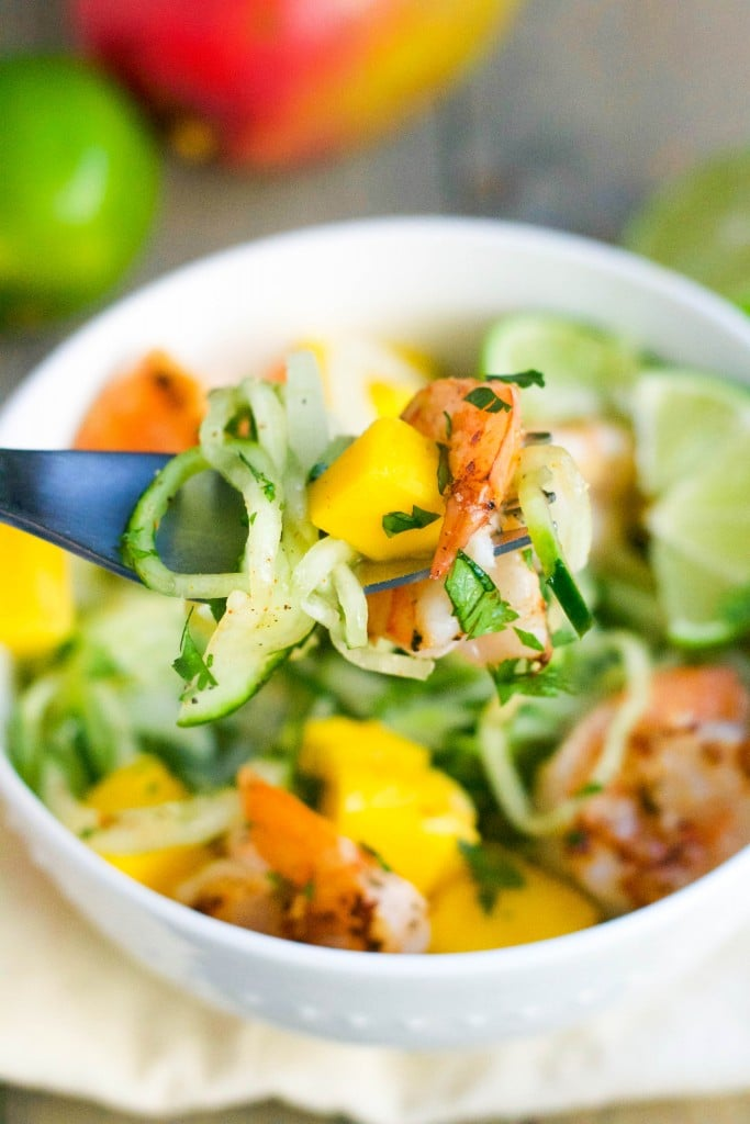 Mango and Shrimp Cucumber Noodles (GF, DF) - A Dash of Megnut
