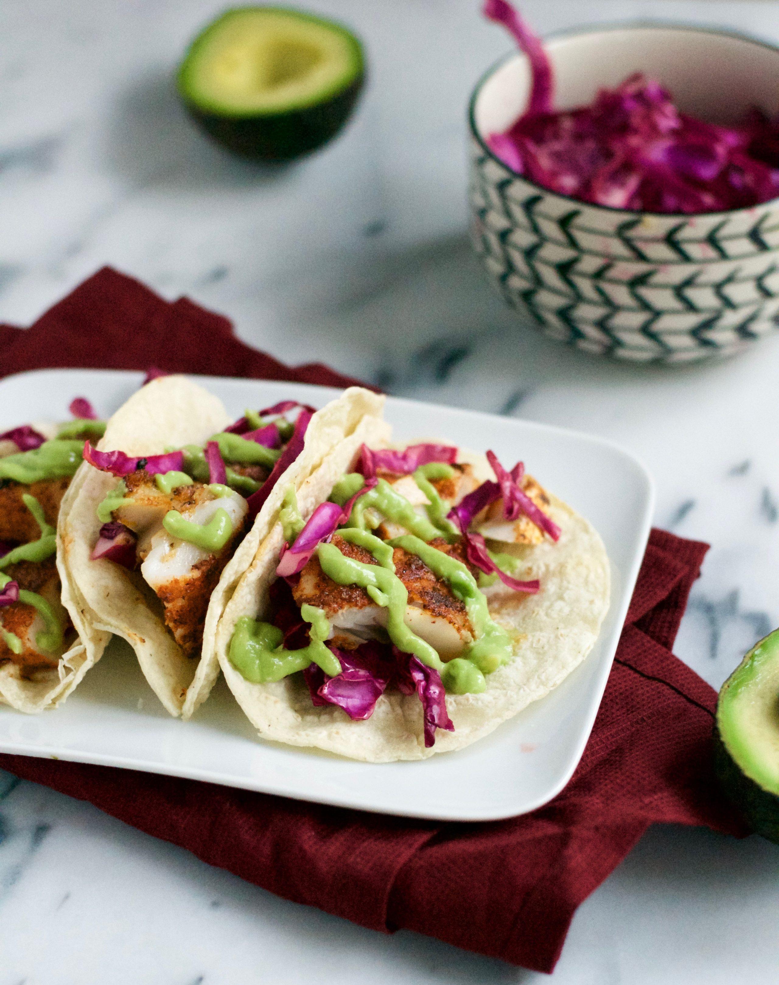 Blackened Fish Tacos with Avocado Crema (GF, DF) - A Dash of Megnut