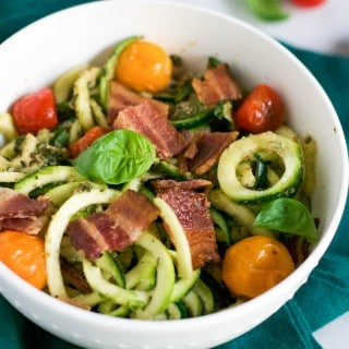 Pecan Pesto Zoodles with Bacon and Roasted Tomatoes (GF, DF) - A Dash of Megnut