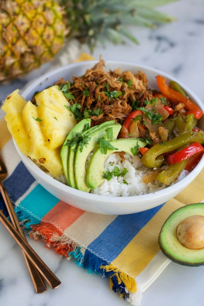 Crock Pot Pineapple Pork Burrito Bowls (GF, DF) - A Dash of Megnut