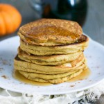 Pumpkin Spice Panckes (Vegan + GF) - you'll love how fluffy these gluten-free and vegan pumpkin spice pancakes are. Perfect for Fall! Just drizzle with some pure maple syrup or maybe some sauteed apples and vegan caramel sauce for an extra little treat! Great for weekend brunch, too! Recipe from A Dash of Megnut - see www.adashofmegnut.com