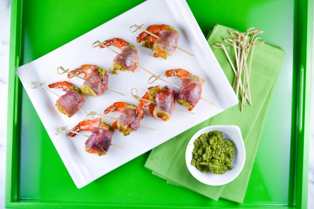 Prosciutto Wrapped Pesto Shrimp (gluten-free, dairy-free) for Cost Plus World Market - A Dash of Megnut
