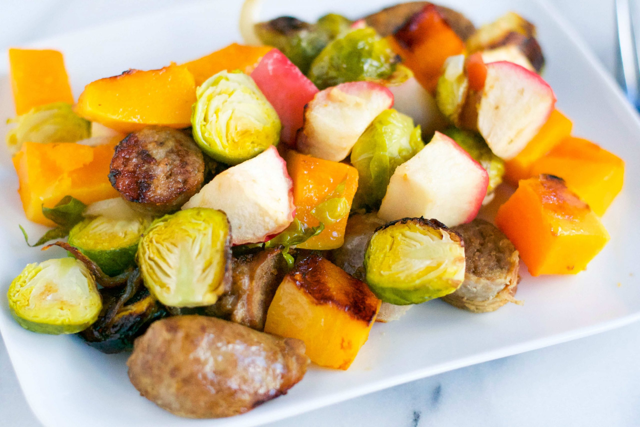 Roasted Chicken Sausage, Butternut Squash and Apples - gluten-free, dairy-free, paleo, whole 30 approved - A Dash of Megnut