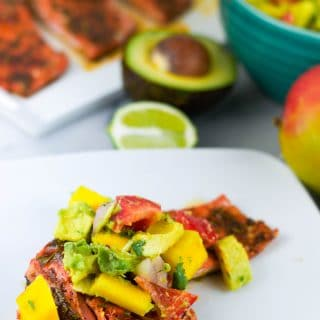 Honey Glazed Salmon with Avocado Mango Salsa