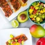 Honey Glazed Salmon with Avocado Mango Salsa (GF, DF) - A Dash of Megnut