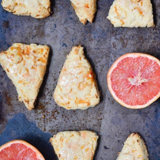 Gluten-free vegan grapefruit scones from A Dash of Megnut. You'll love how tender these scones are!