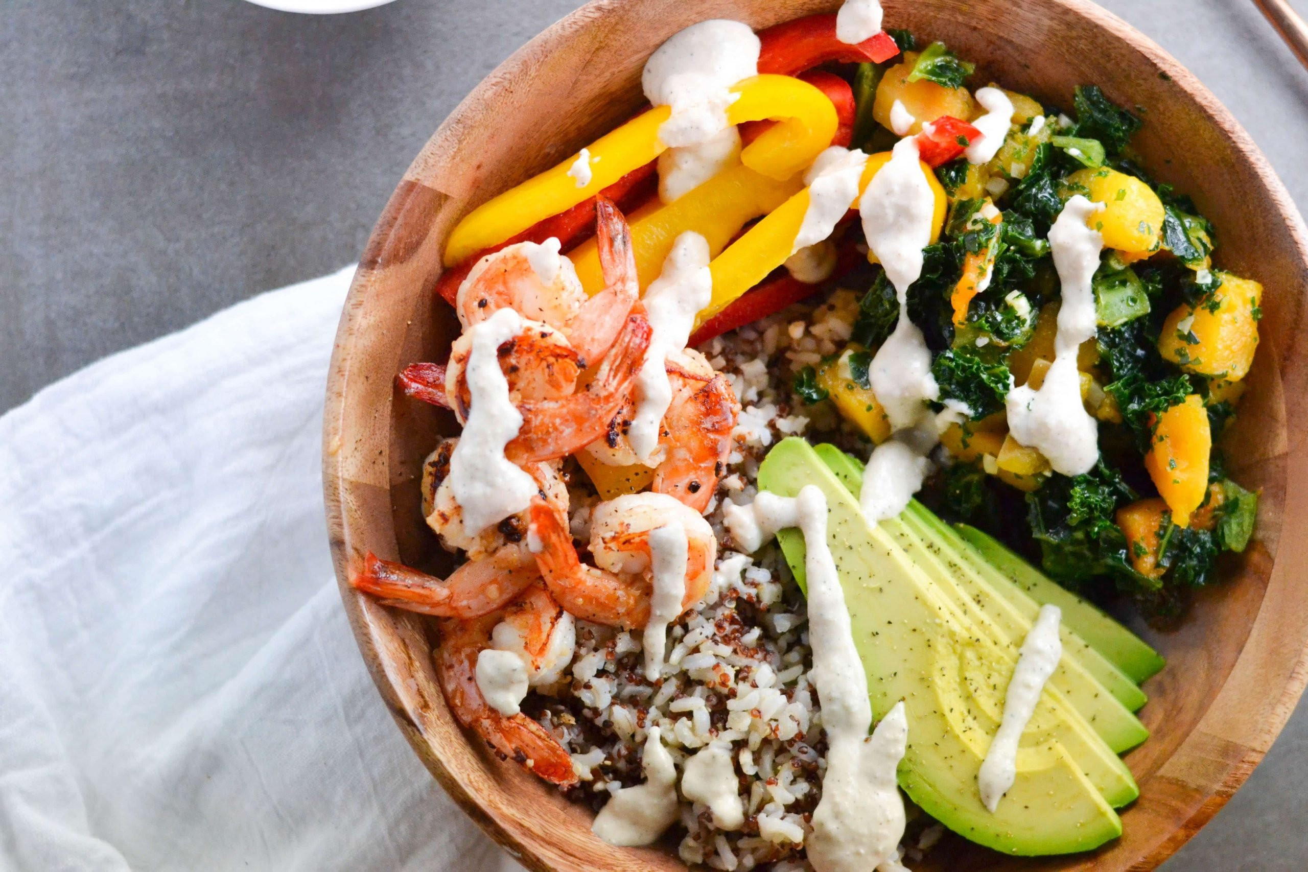 Shrimp Grain Bowl with Creamy Cashew Sauce (GF, DF) - A Dash of Megnut