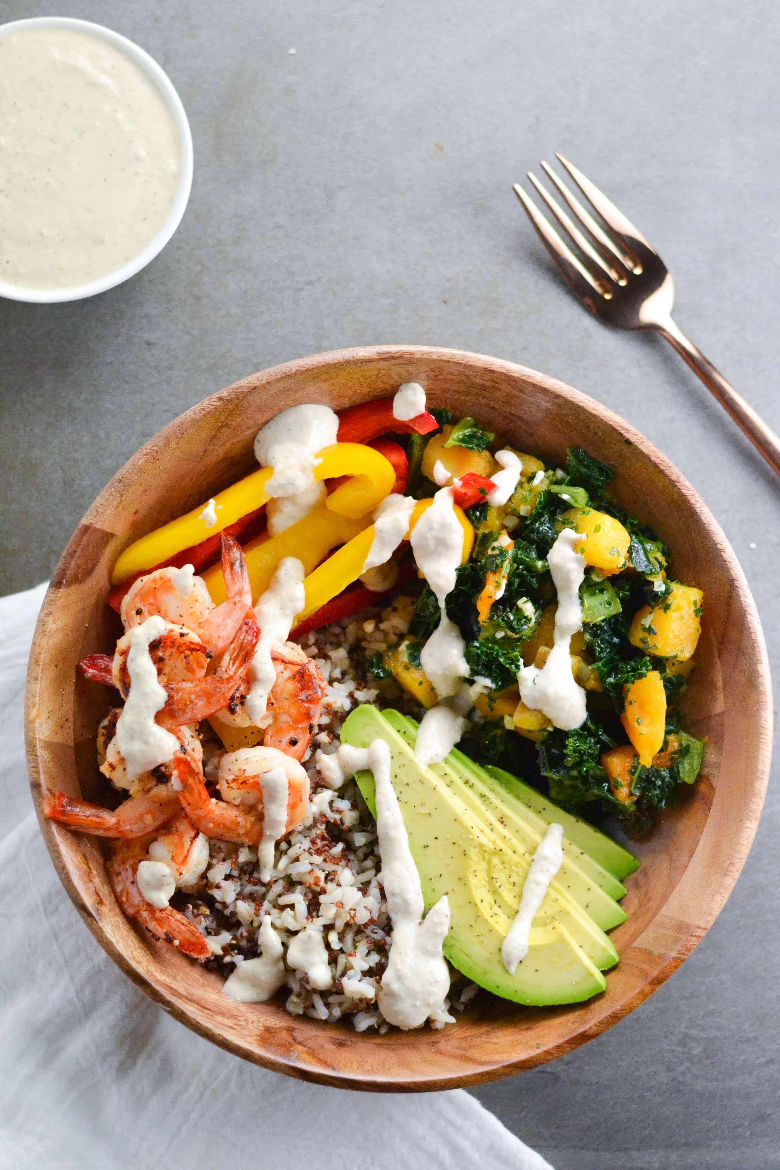 Shrimp Grain Bowl with Creamy Cashew Sauce (GF, DF) - A Dash of Megnut