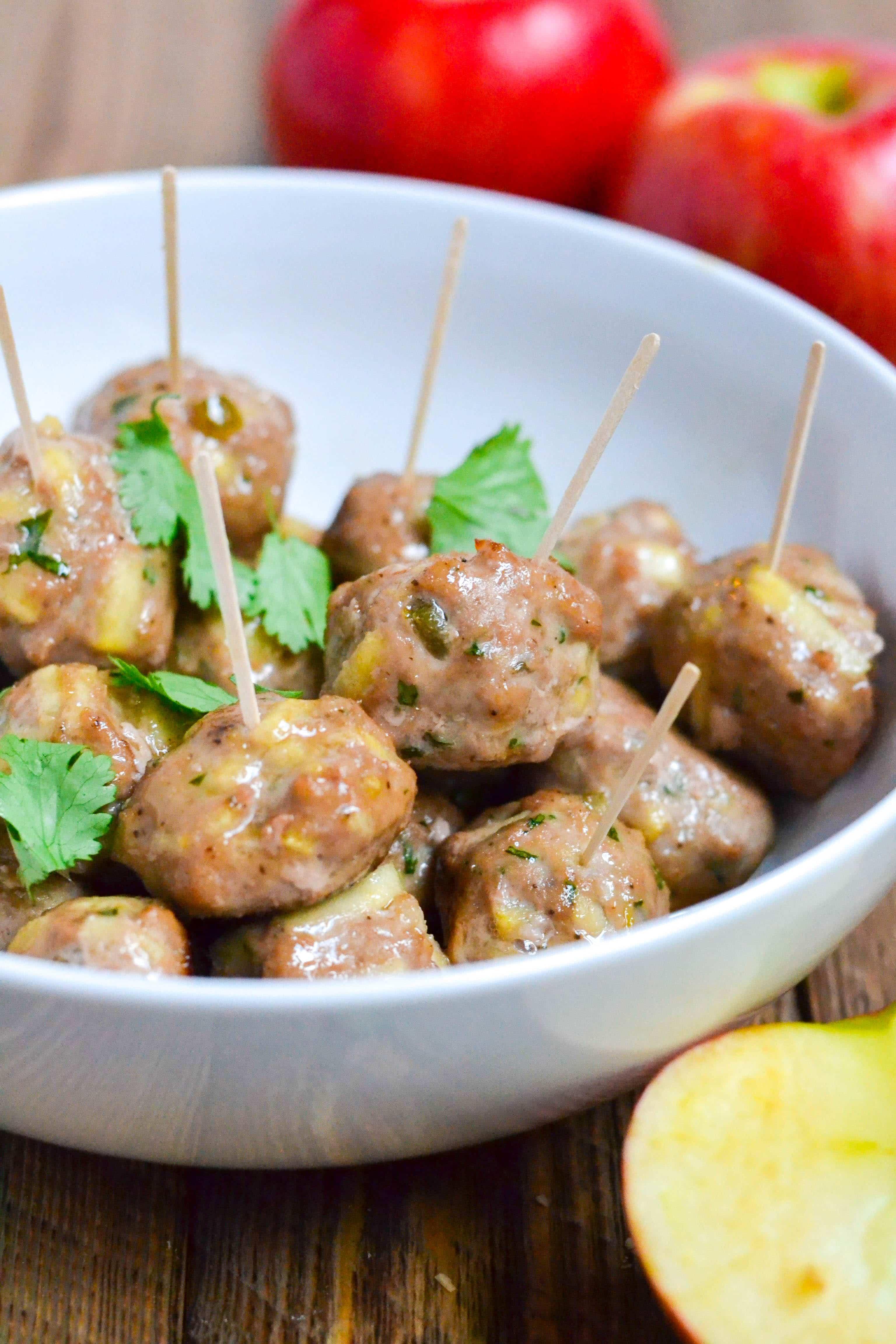 Apple Jalapeño Meatball (GF, DF) - A Dash of Megnut