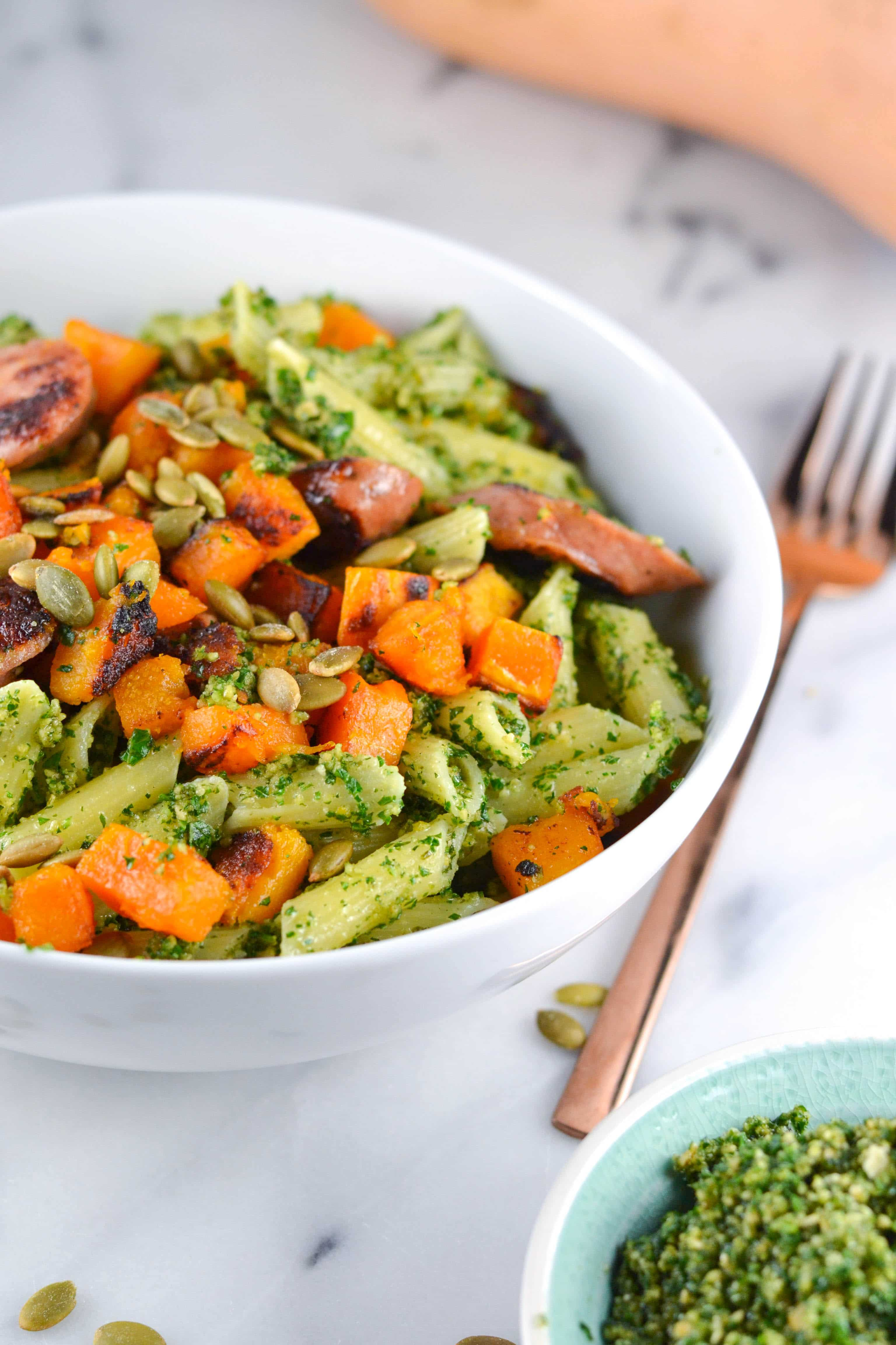 Gluten-Free Pumpkin Seed Pesto Pasta with Butternut Squash (GF, DF) - A Dash of Megnut