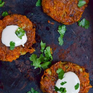 Vegan Curried Butternut Squash Fritters (GF, DF, V) - A Dash of Megnut
