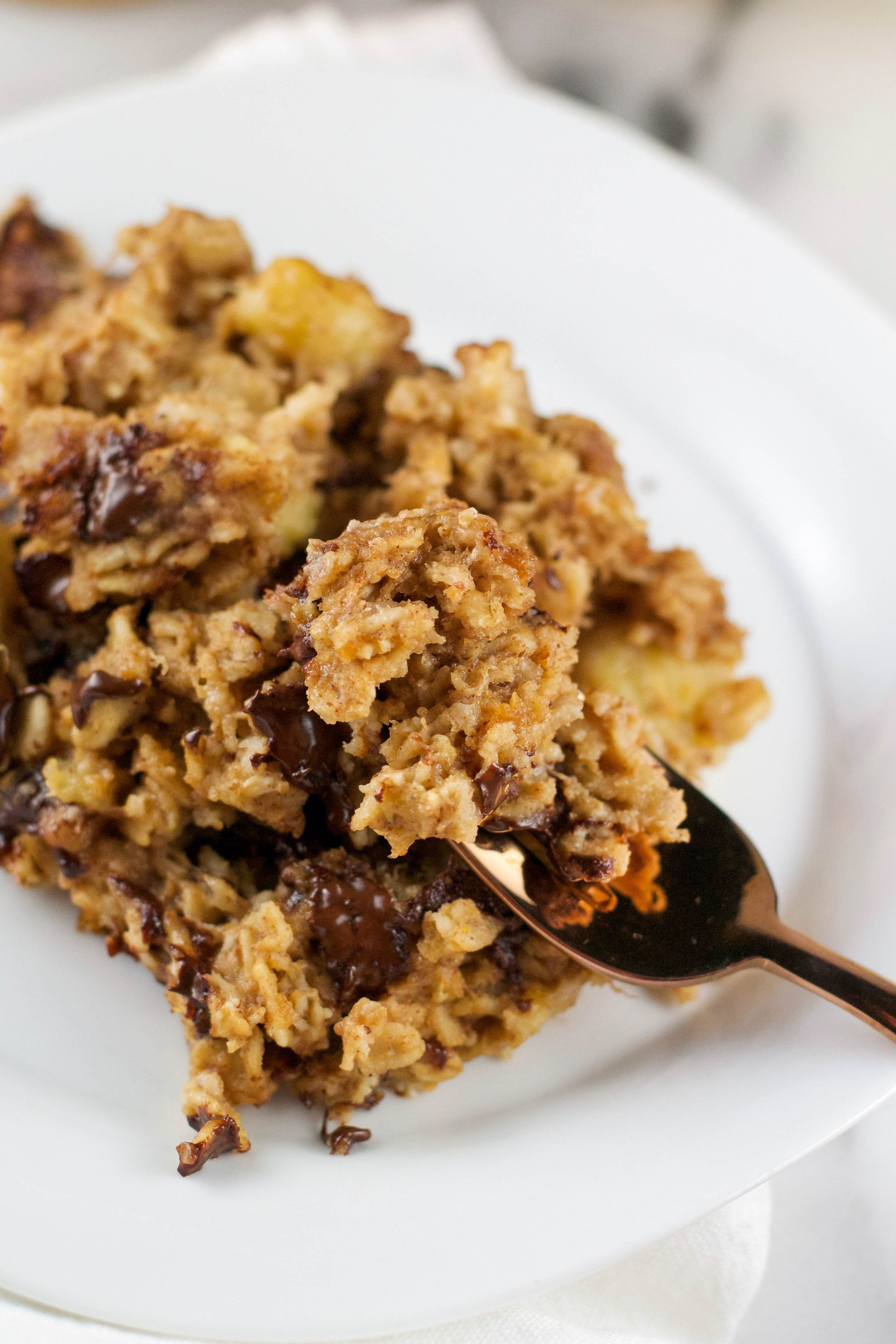 Slow Cooker Chocolate Peanut Butter Banana Oatmeal Bake (GF, DF, V) - A Dash of Megnut