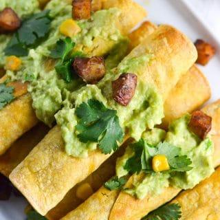 Red Potato and Black Bean Taquitos (GF, DF, V) - A Dash of Megnut