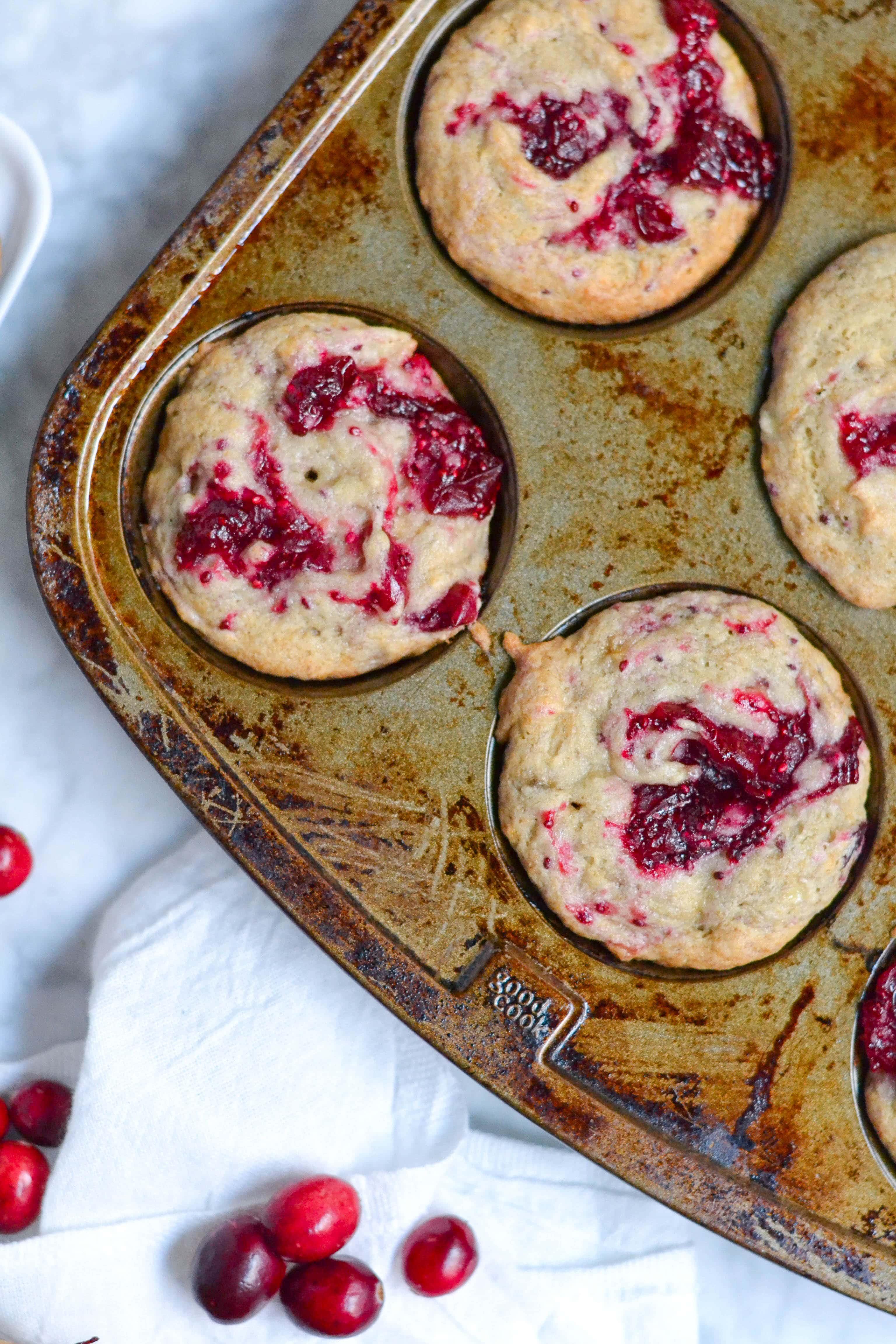 Gluten-Free Vegan Banana Cranberry Jam Muffin (GF, DF, V) - A Dash of Megnut