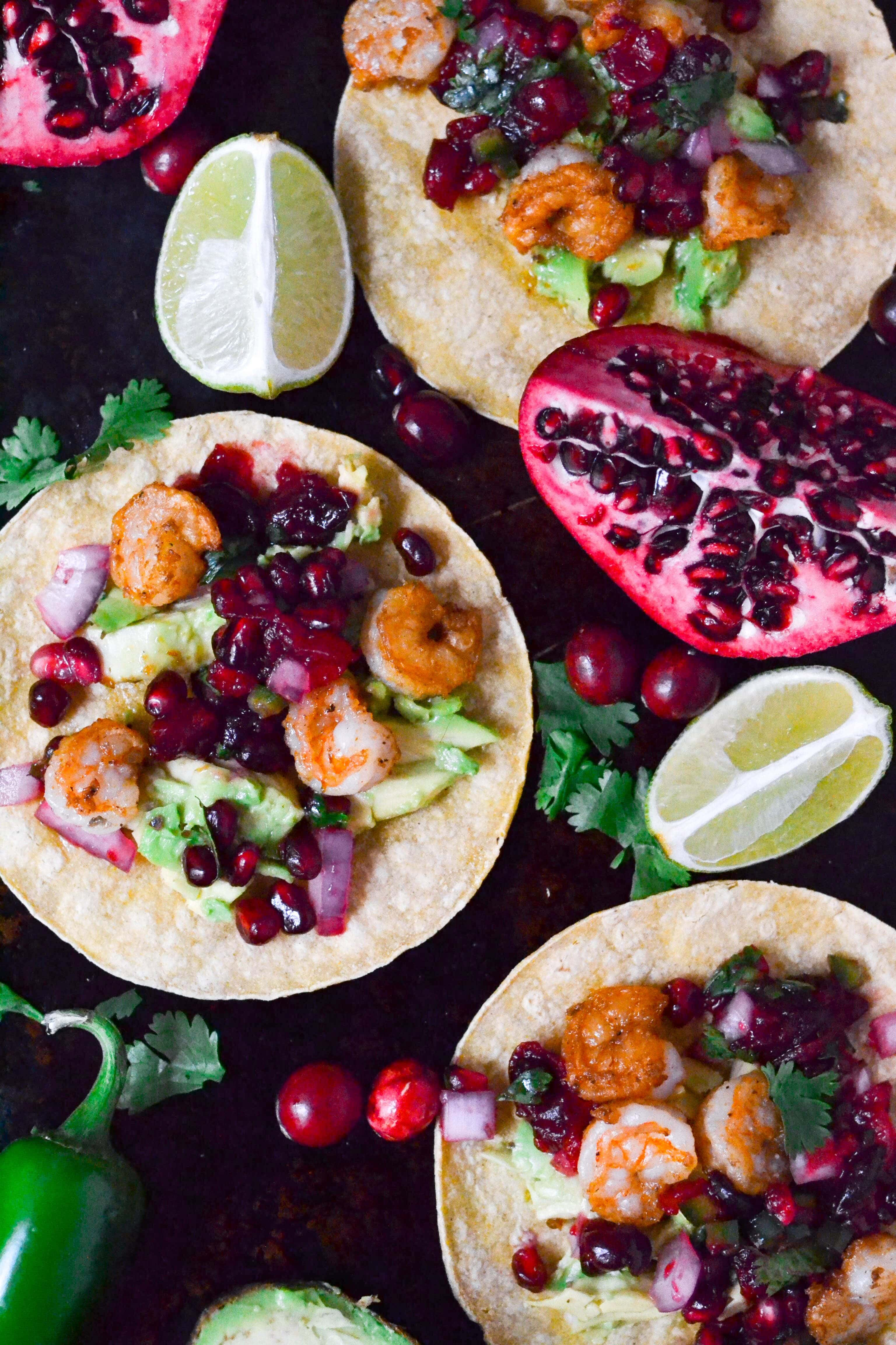 Shrimp Tacos with Cranberry Pomegranate Salsa (GF, DF) - A Dash of Megnut