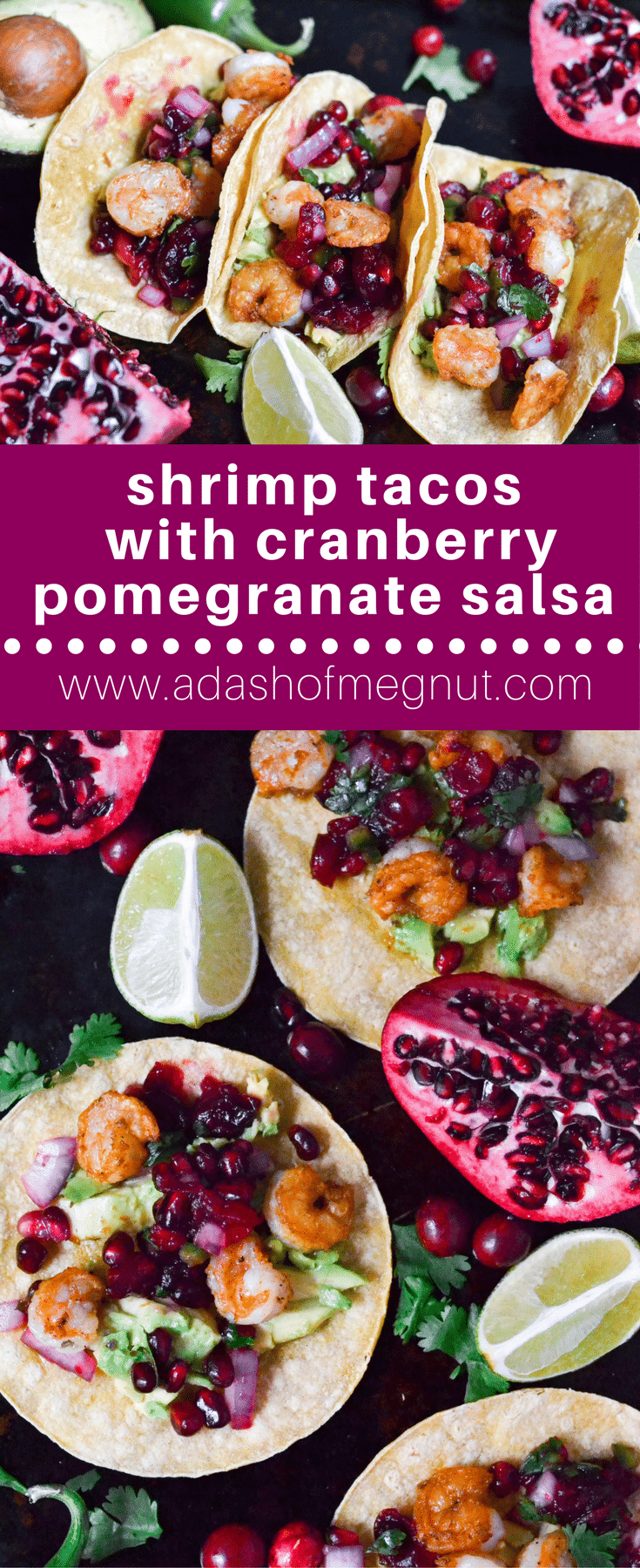 These shrimp tacos with cranberry pomegranate salsa are the ultimate gluten-free and dairy-free weeknight dinner! They're on the table in under 30 minutes! #tacotuesday #glutenfree #dairyfree