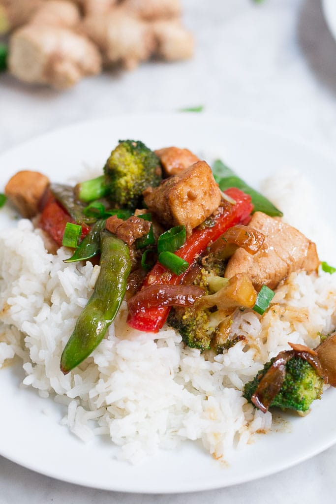 This gluten-free chicken teriyaki stir fry makes a great weeknight meal or meal prep recipe! Homemade teriyaki sauce is the star in this recipe! Get loads of beautiful and vibrant vegetables in each bite, too!