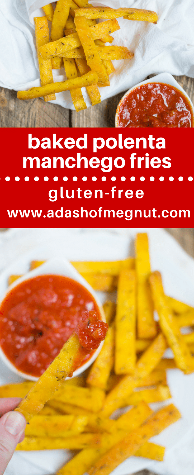 These baked polenta manchego fries are a great gluten-free appetizer or side for any meal! Perfectly crispy and delicious when served with marinara sauce! #glutenfree