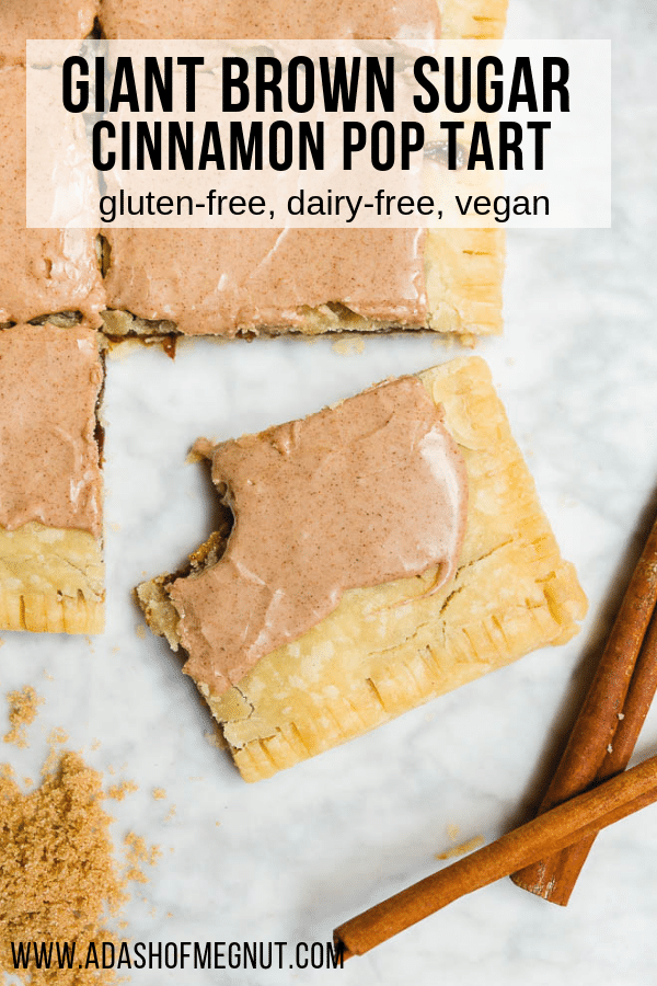 Calling all pop tart enthusiasts! Super-size your childhood breakfast favorite with this giant brown sugar cinnamon pop tart that's both gluten-free and vegan! It has all of the flavors of the classic, just bigger and tastier! A buttery, golden crust filled with a sweet cinnamon filling and frosted with a cinnamon glaze. Slice it up and share with your friends! #glutenfree #dairyfree #vegan #brunch #poptart