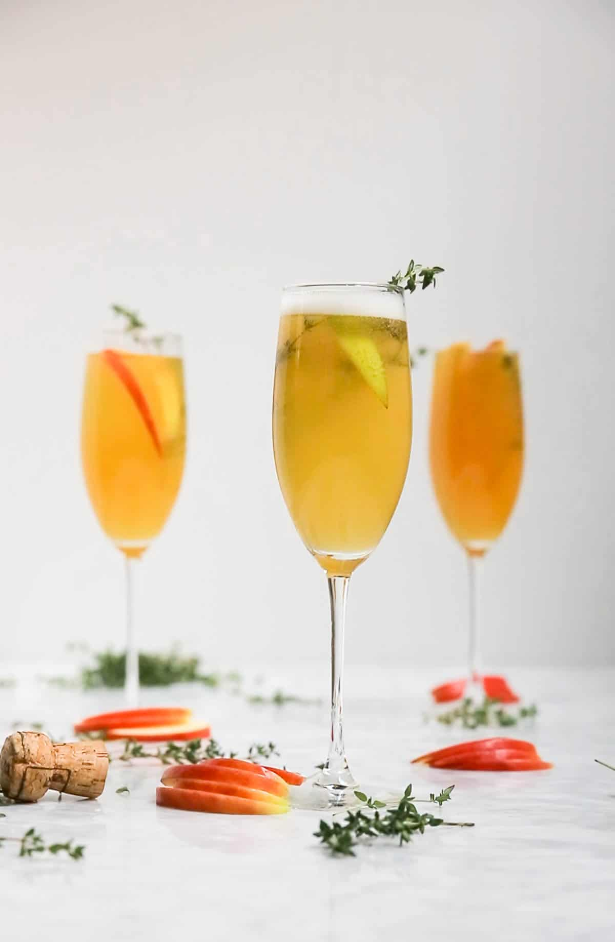 Easy 4-Ingredient Apple Cider Thyme Mimosa