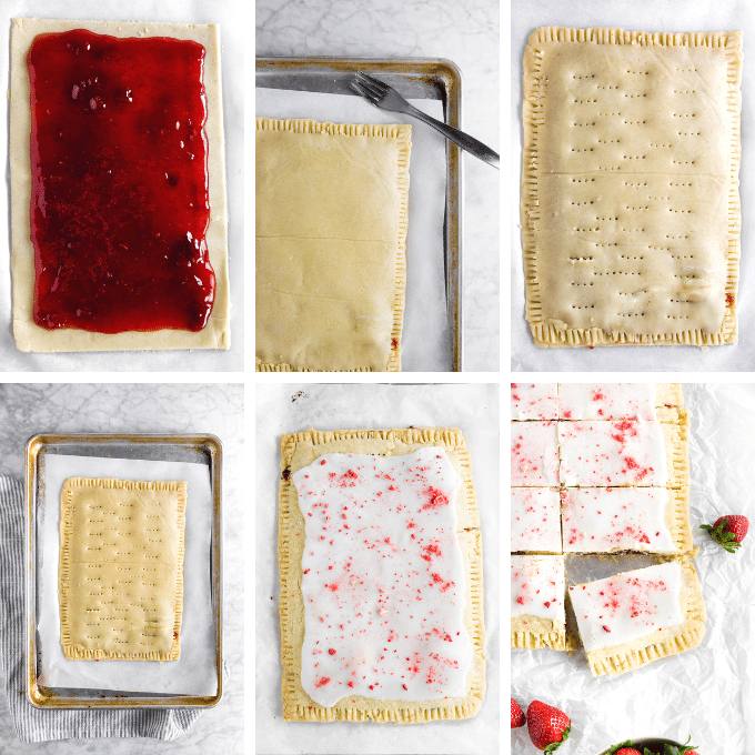 A collage photo showing the steps for creating a giant gluten-free strawberry pop tart from start to finish.