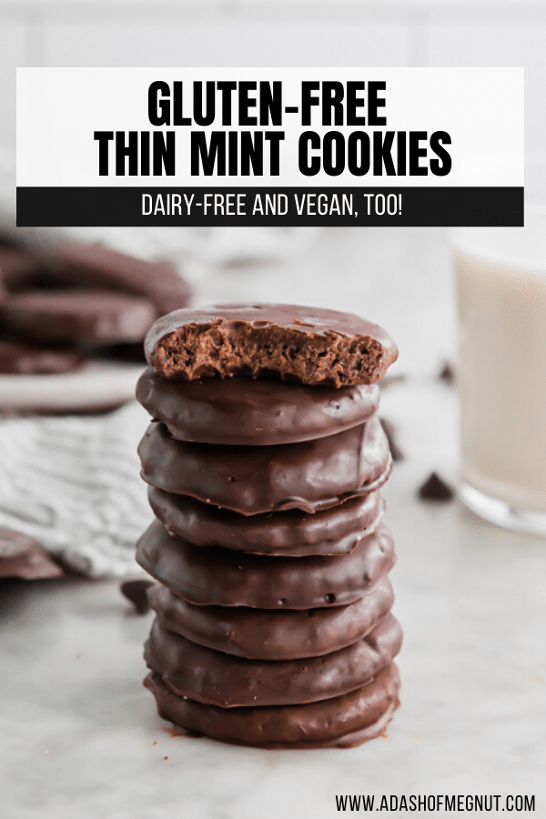 A photo of a stack of homemade thin mint cookies with the top cookie bitten in half.