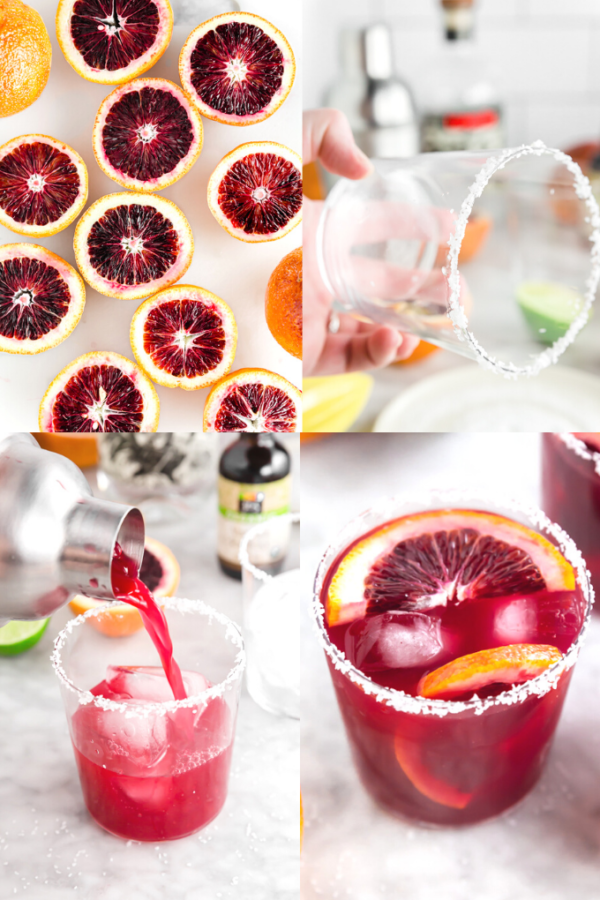 A photo collage showing the process of making a blood orange margarita on the rocks from slicing the oranges, to salting the rim of the glass, to pour the margarita into the glass from the cocktail shaker, to serving.