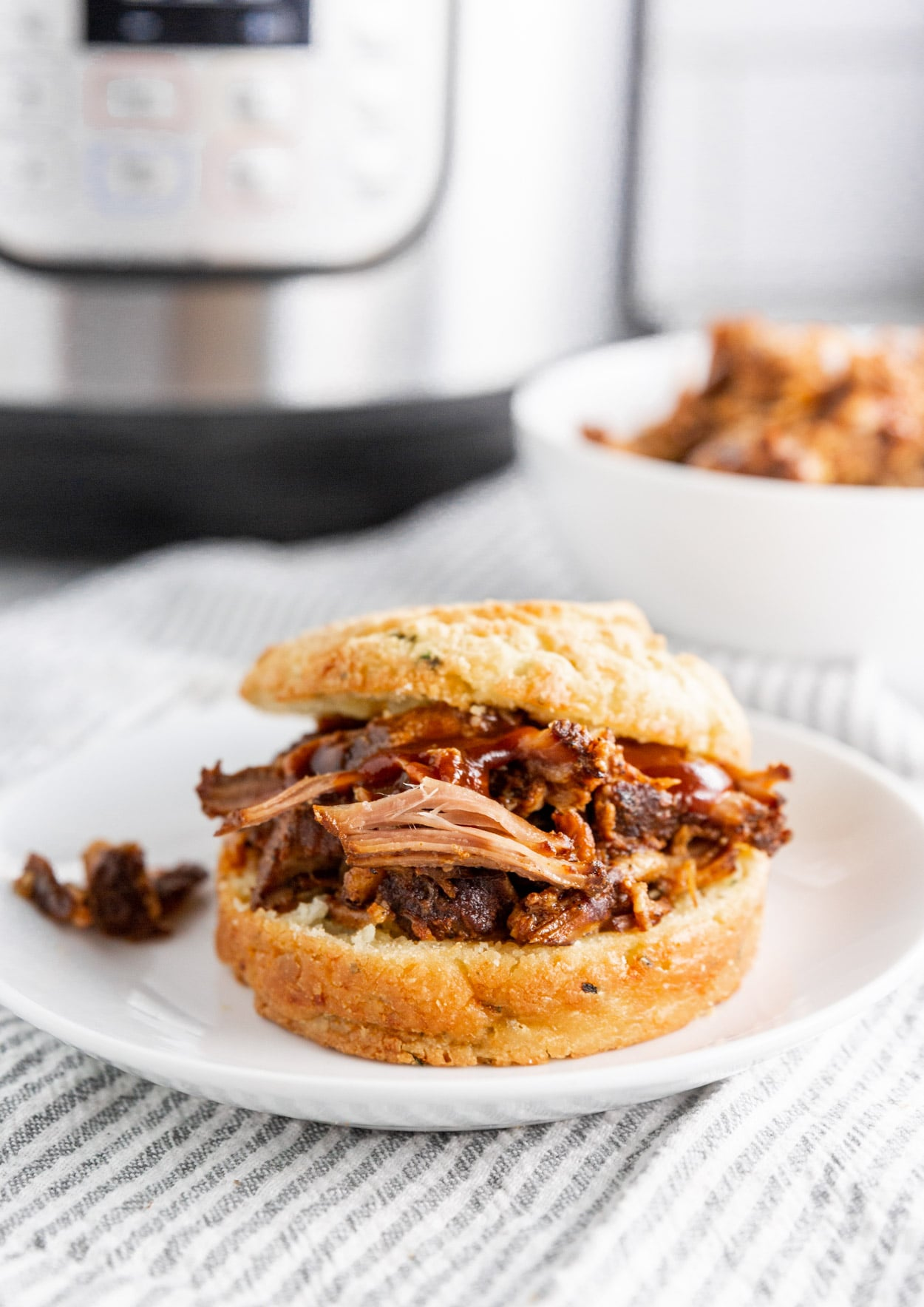 A photo of a BBQ Pulled pork sandwich with BBQ sauce and an Instant Pot in the background.