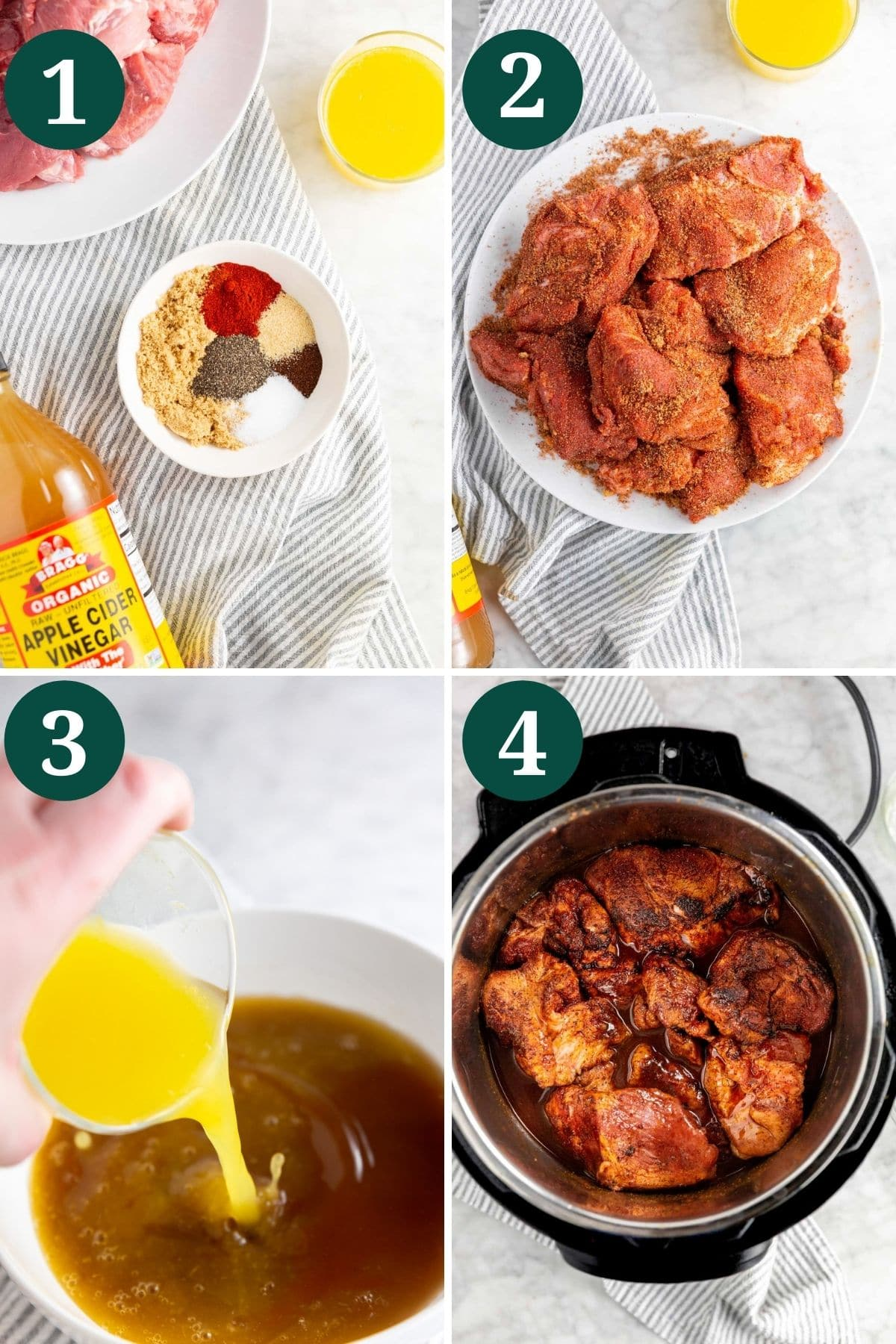 A collage showing the process of making instant pot bbq pulled pork.