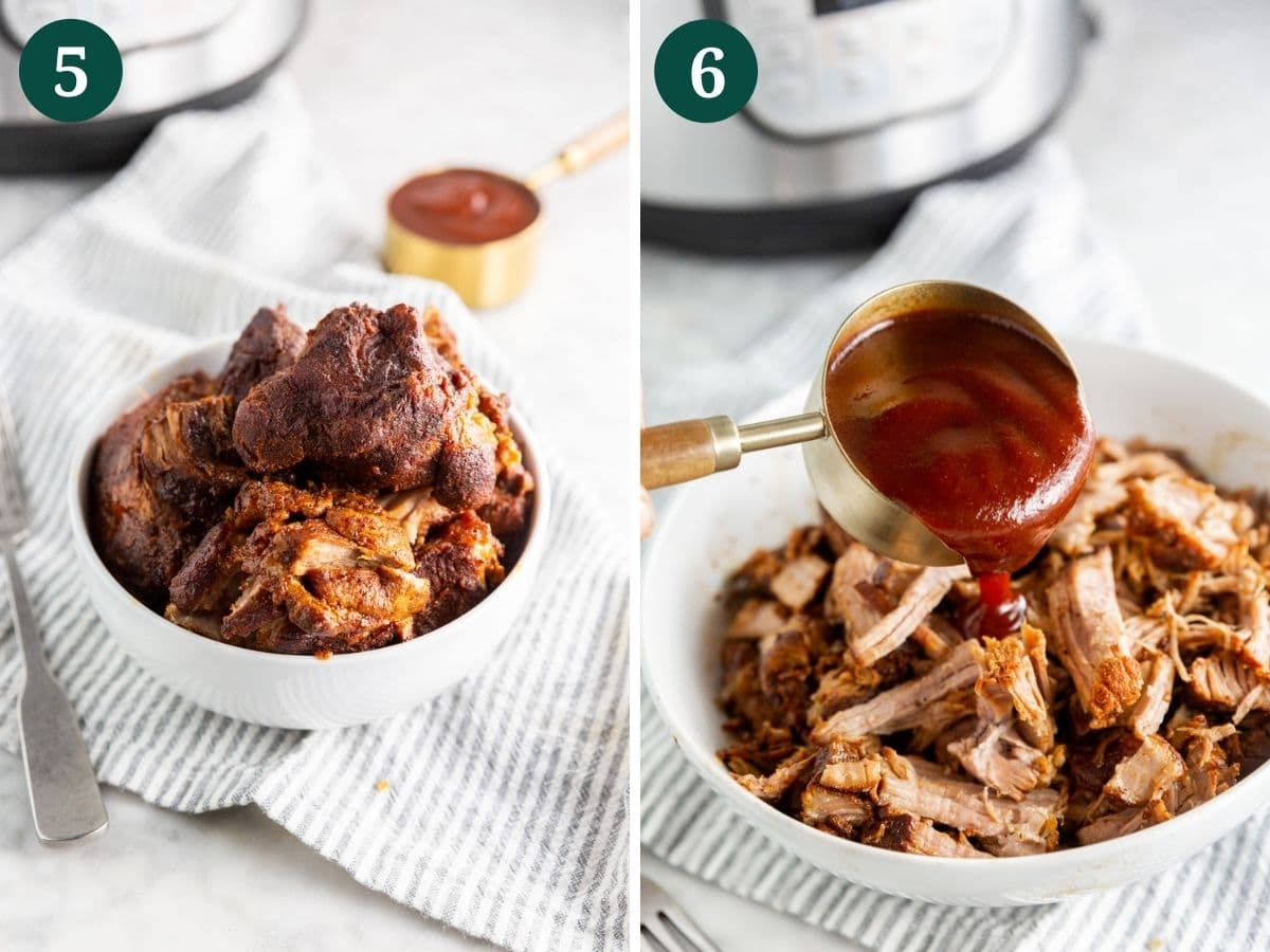 A collage showing instant pot bbq pulled pork being shredded and topped with bbq sauce.