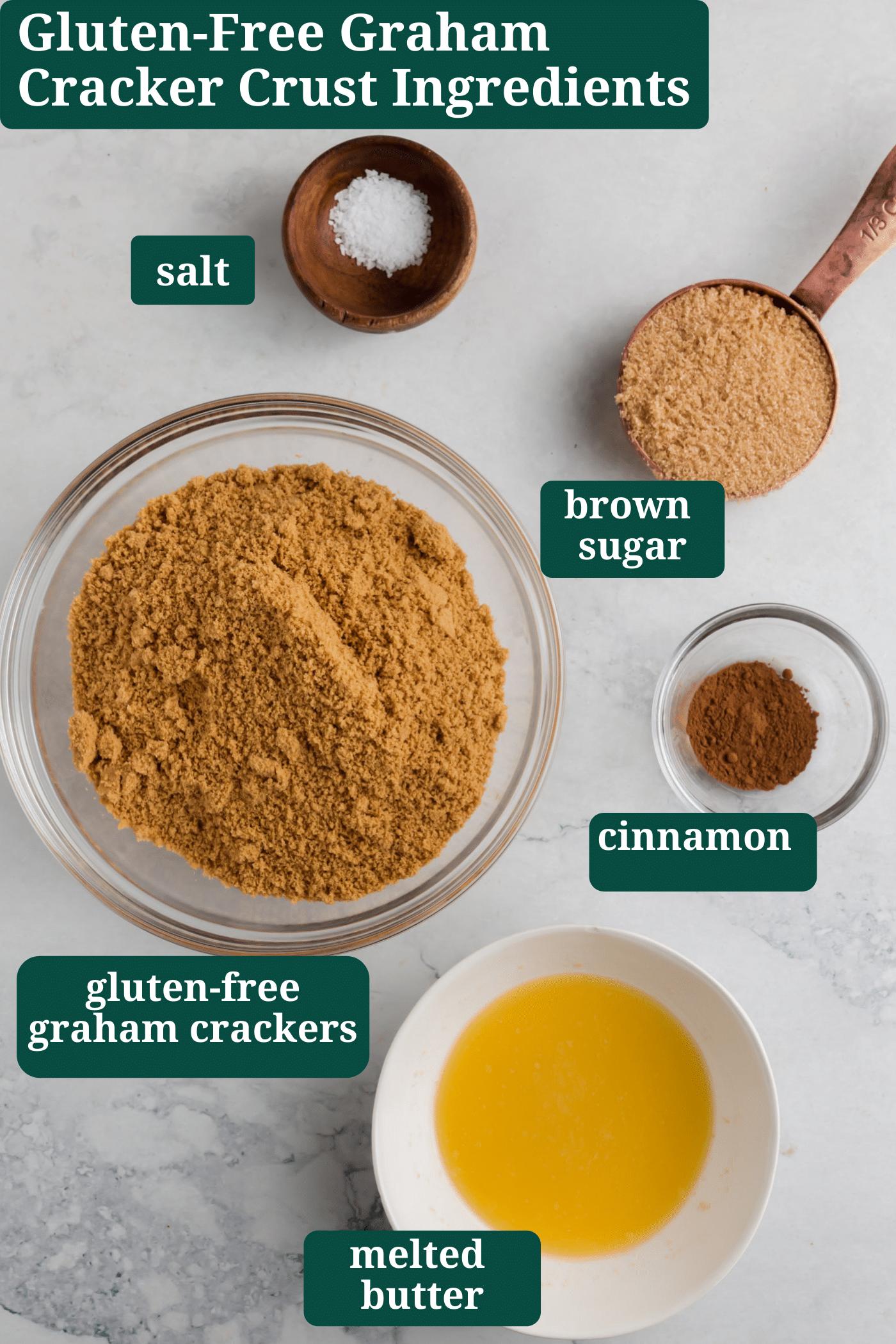 An overhead photo showing the ingredients to make gluten-free graham cracker pie crust.