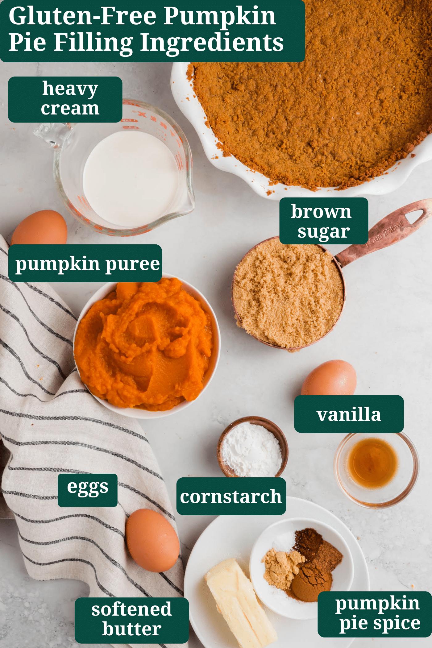 An overhead photo of ingredients for making gluten-free pumpkin pie filling.