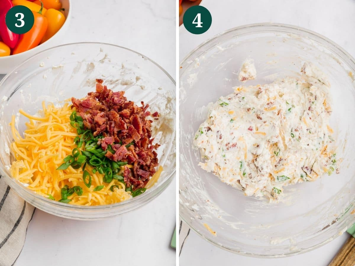 A photo collage showing a bowl with cooked bacon, shredded cheese, and green onion and the second photo shows bacon, cheese and green onion mixed with cream cheese.