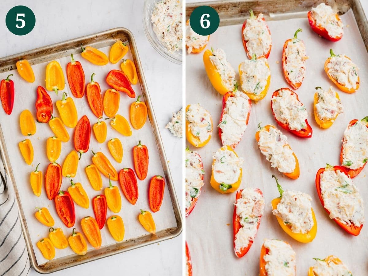 A photo collage showing red, yellow and orange mini peppers on a pan and a second photo shows the mini peppers stuffed with cream cheese.