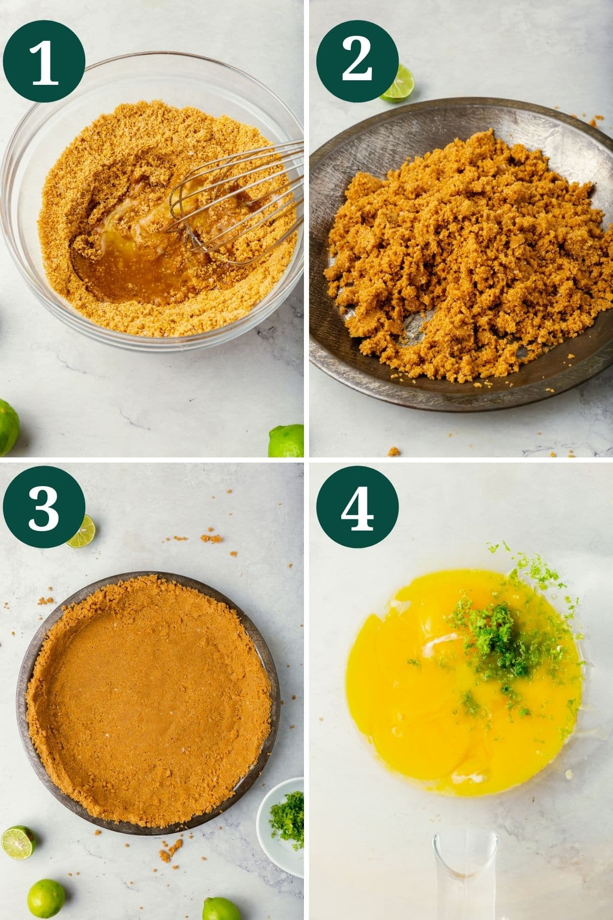A collage showing how to make gluten-free graham cracker crust for key lime pie.