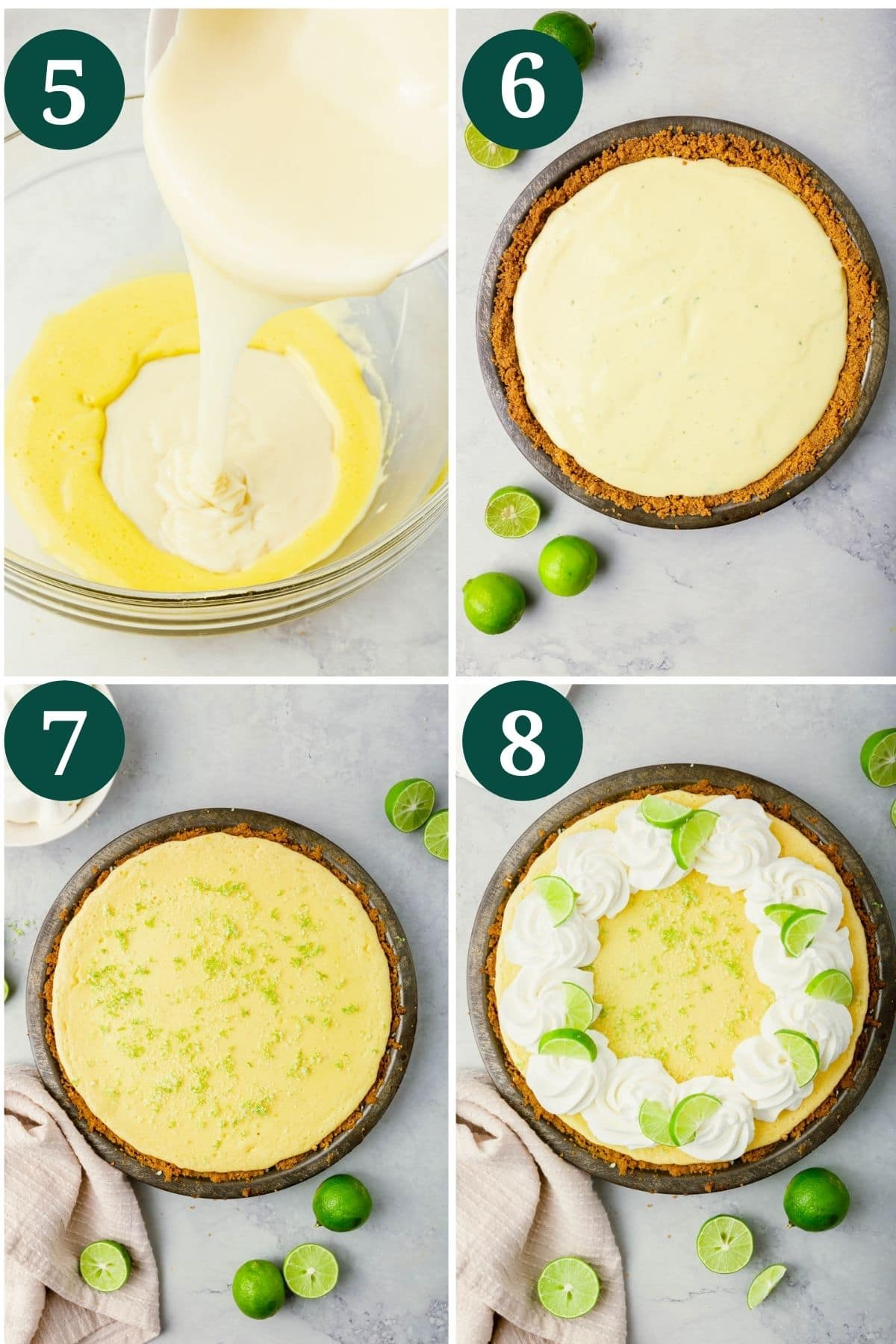 A collage showing how to make the filling for gluten-free key lime pie and top with whipped cream.