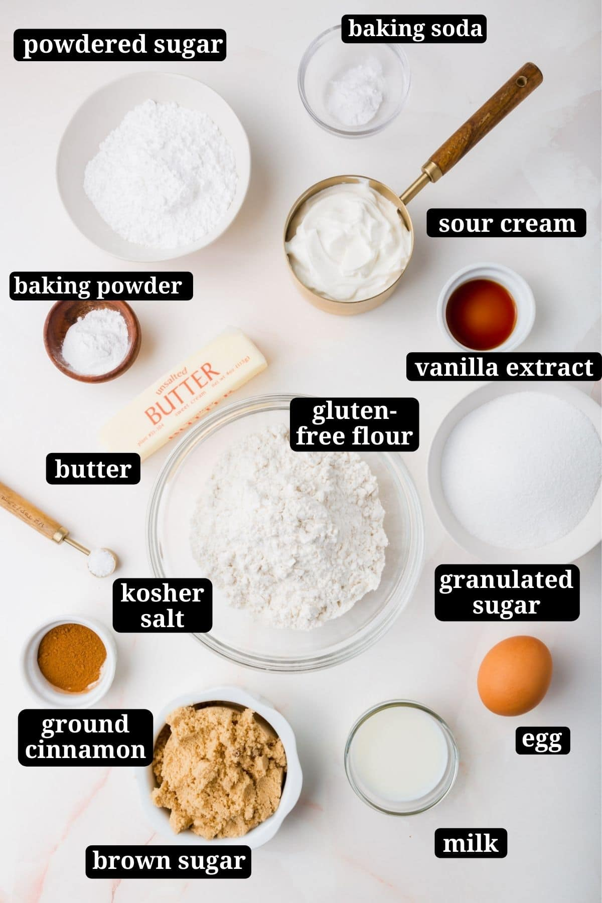 Ingredients for making gluten-free coffee cake with cinnamon streusel.