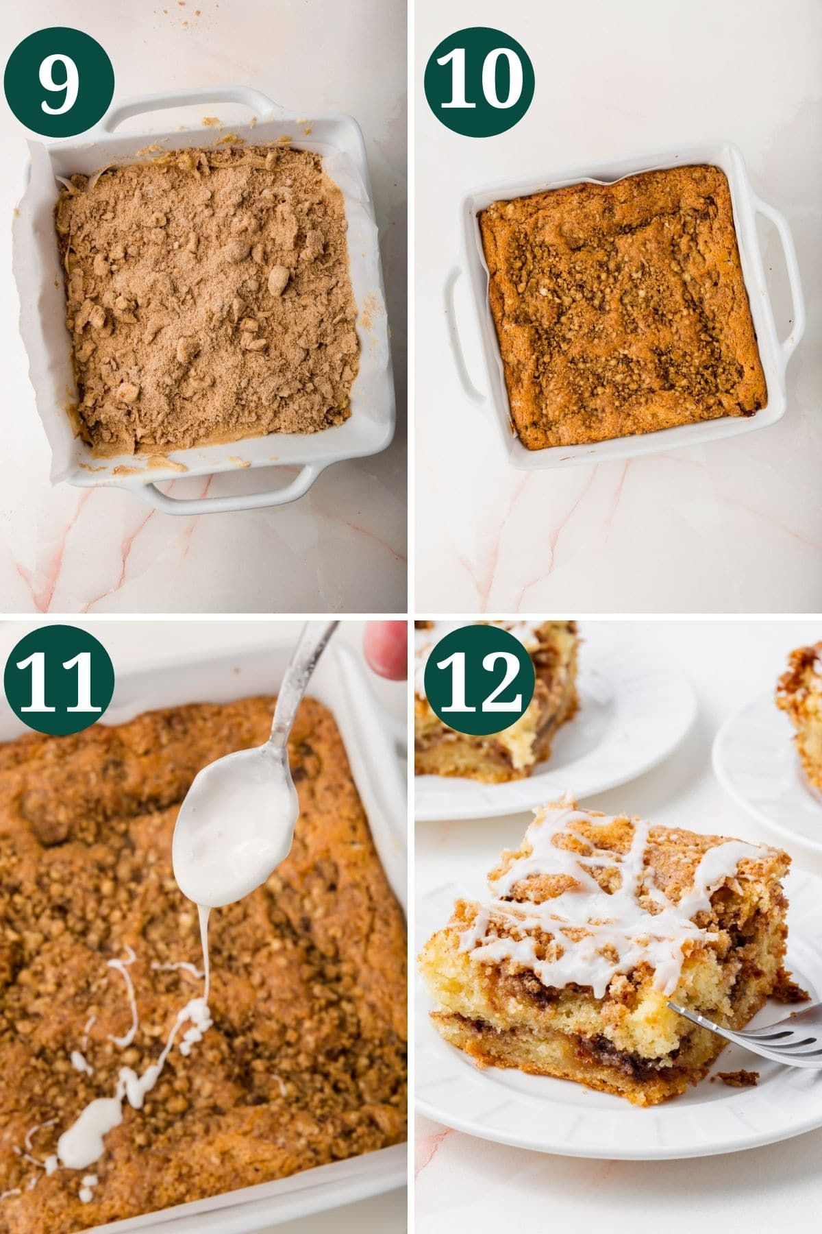 The process of showing how to make gluten-free coffee cake.