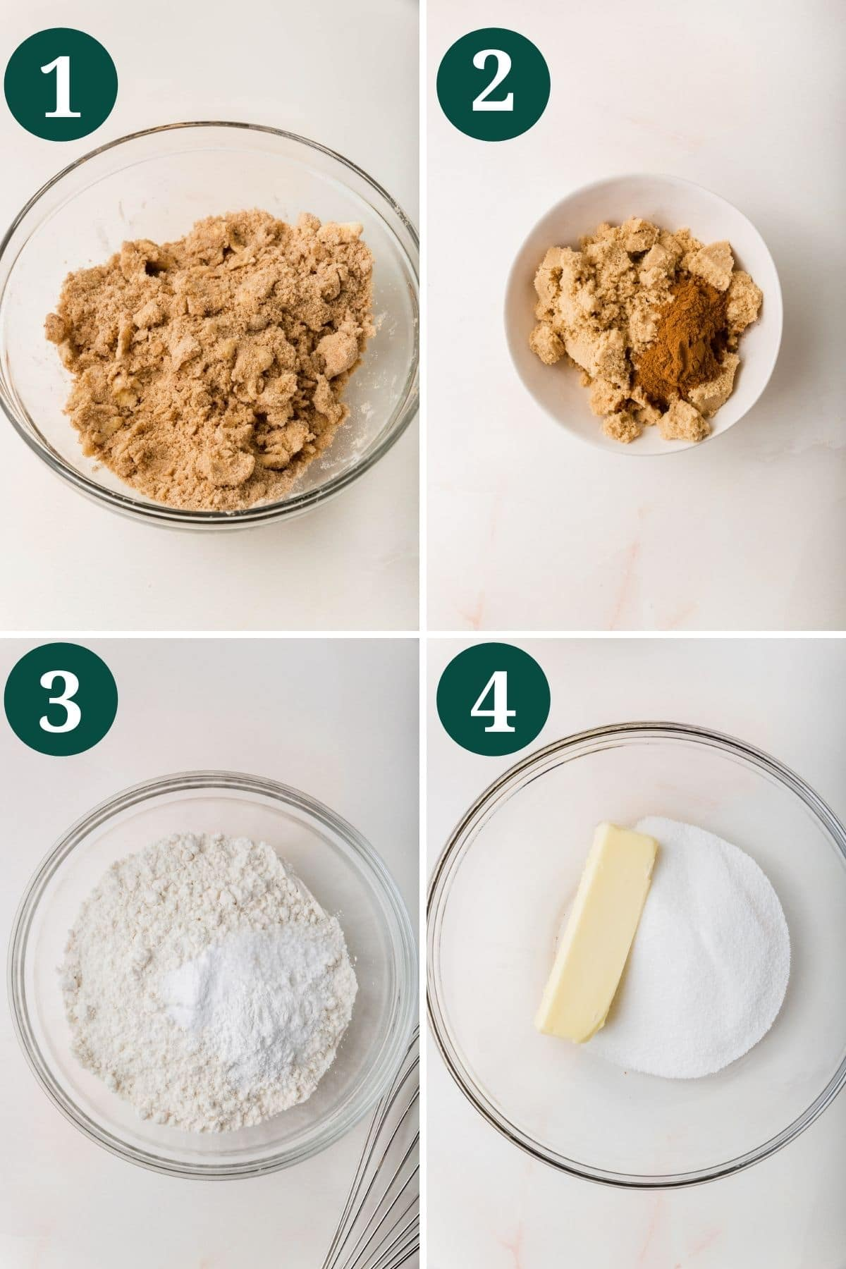 A collage of photos showing the process for making cinnamon coffee cake with gluten-free flour.