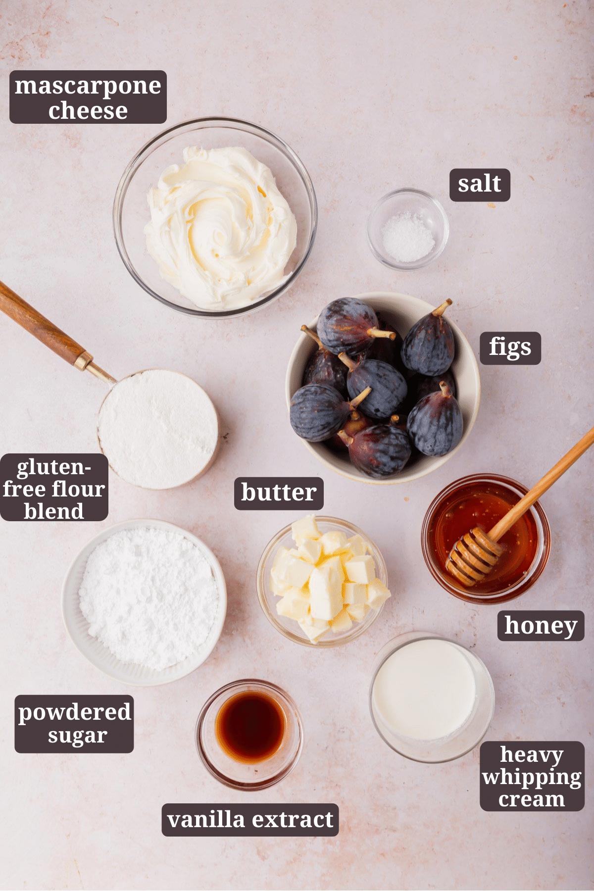 Ingredients for making gluten-free fig tart.