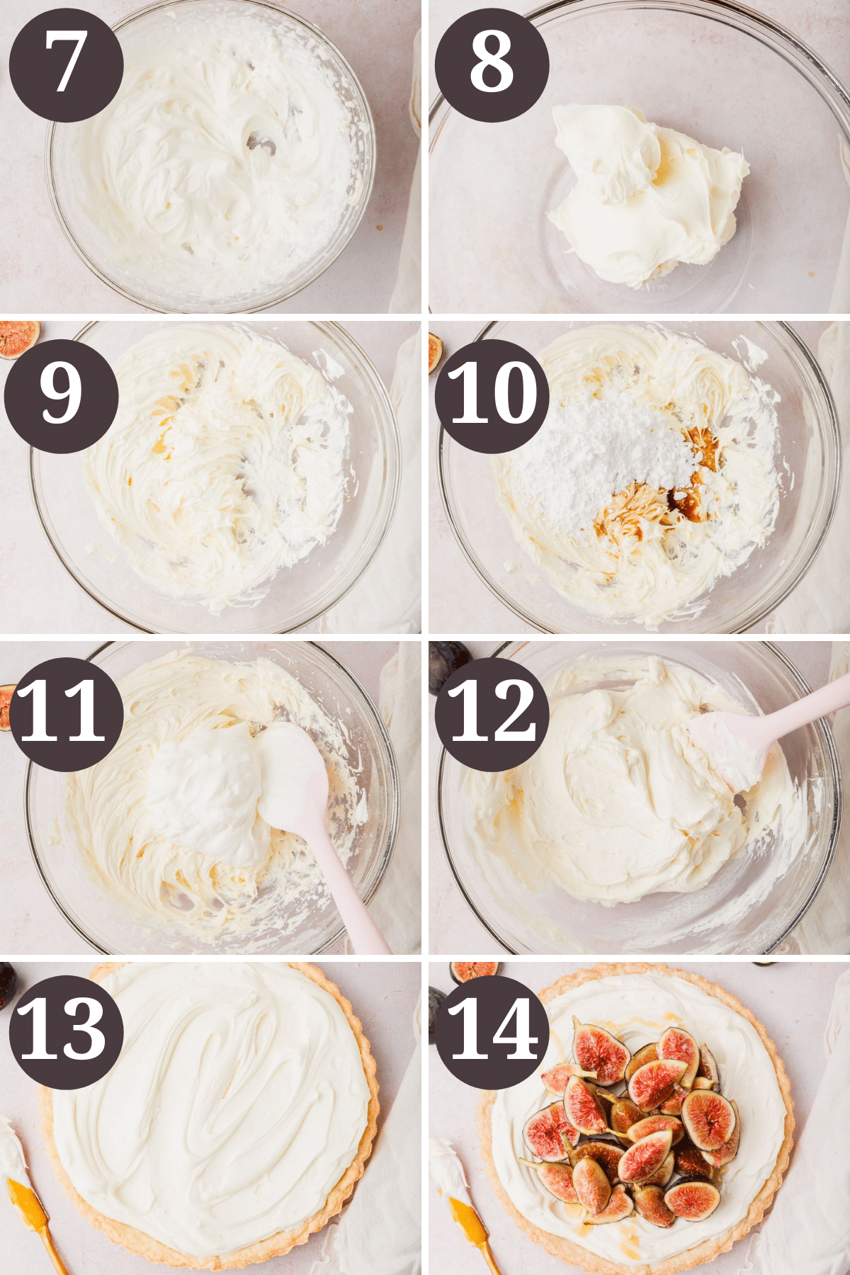 The process for making the gluten free fig tart with mascarpone filling.