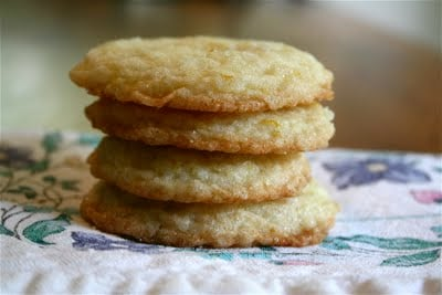 A stack of lemon almond cookies.