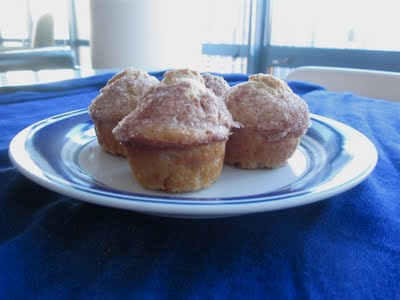 A plate of mini cinnamon muffins.