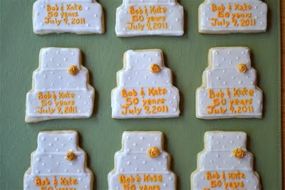 Wedding cake shaped sugar cookies.